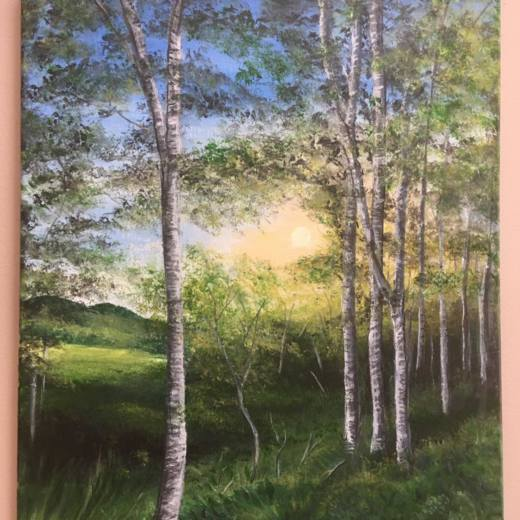 Painting by Kim Tyler of a birch tree forest with sunlight streaming in.