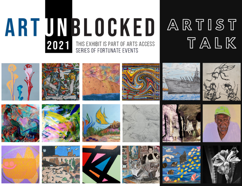 thumbnails of all artwork from all artists in art unblocked - variety of both abstract and representational very small, colorful images.